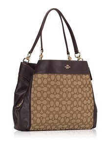 Coach Hobo Slouchy Jacquard Monogram Leather Tote in Khaki Brown