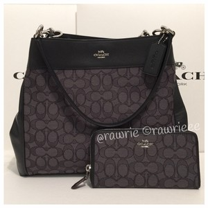Coach Hobo Set Matching Set Gift Set Gift Box Tote in Black Gray