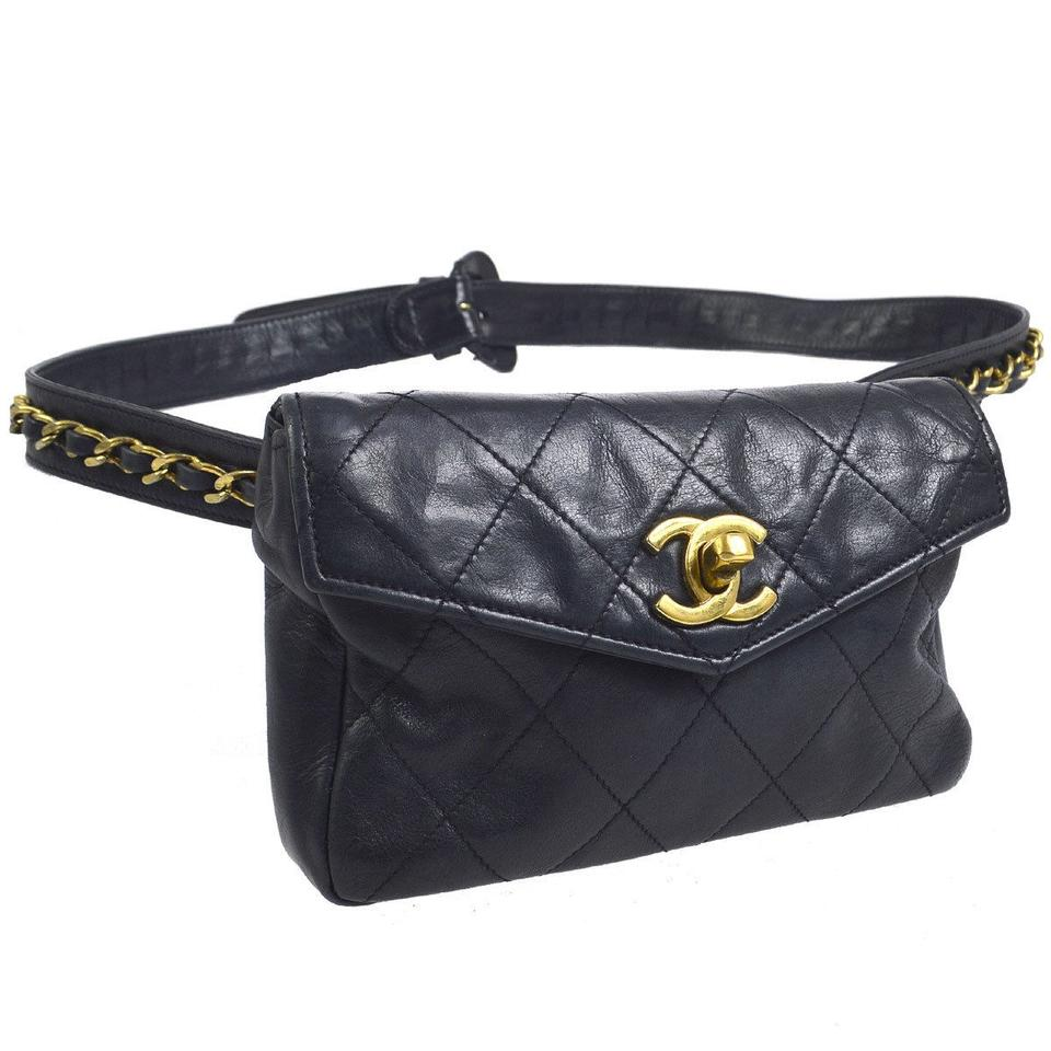 9b843f9a8c15f3 Chanel Leather Limited Edition Vintage Quilted European navy Clutch Image 0  ...