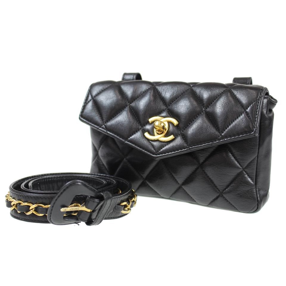 c13138467081fa Chanel Waist Bag Mini Quilted Bum Fanny Pack Black Leather Clutch ...