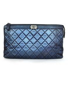Chanel Quilted Metallic blue Clutch