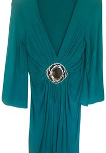 Banana U.S.A Turquoise Medallion Crystals Flowy Plunging Neckline White Dress