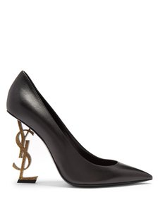Saint Laurent Hardware Pointed Toe 110 Mm Logo Opyum Black, Gold Pumps