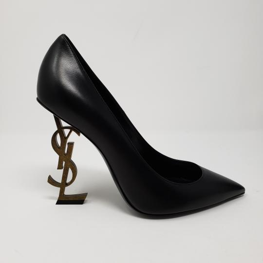 Saint Laurent Gold Hardware Pointed Toe 110 Mm Logo Opyum Black Pumps