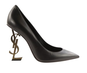 Saint Laurent Gold Hardware Pointed Toe 110 Mm Logo Opyum Black Pumps - item med img