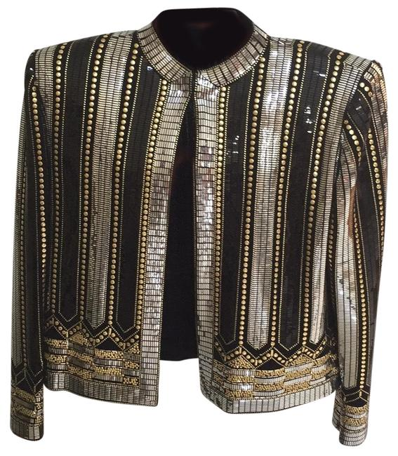 Item - Evening By Marie Grey Black W/Silver & Gold Stripes Top