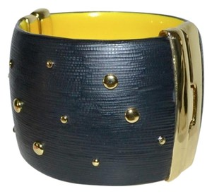 Alexis Bittar Alexis Bittar Black Studded Lucite WIDE Bangle Bracelet Black w Yellow