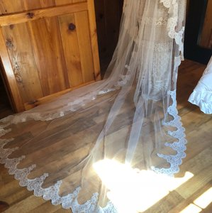 Off White Long Cathedral Two Tier Bridal Veil
