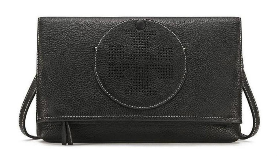 72a5a95f332 Tory Burch Perforated Logo Fold Over Black Leather Cross Body Bag ...