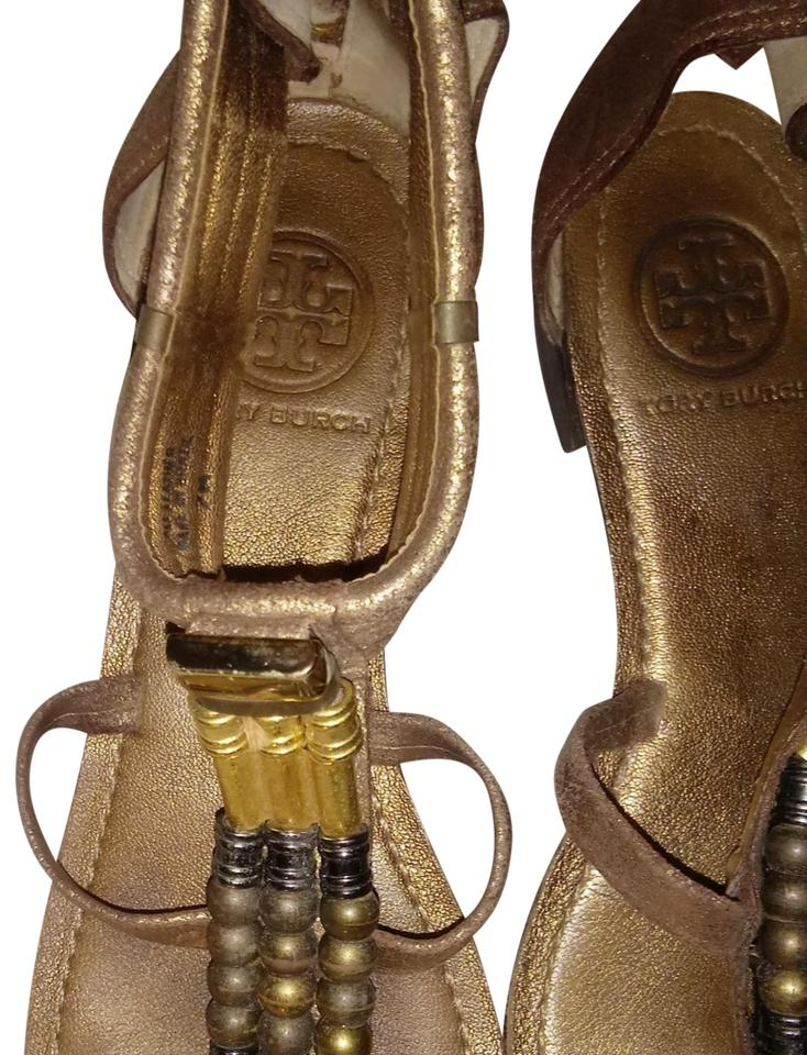 Tory Burch Gold Rustic Gold Burch / Brown Sandals 80ac25