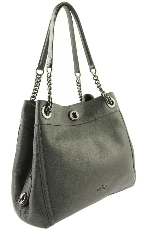 Coach Edie 31 Turnlock Green Leather Shoulder Bag - Tradesy 7b0994afdb2a1