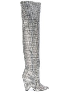 Item - Black Niki 105 Crystal Strass Slouch Thigh High Over The Knee Otk Heel Boots/Booties