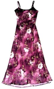 Plum Maxi Dress by Jessica Howard Crinkle Chiffon Maxi Spaghetti Strap Floral