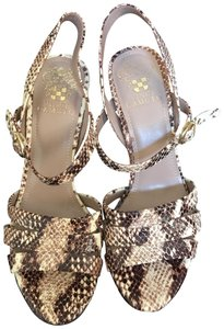 Vince Camuto Leather cream and brown snake print Platforms