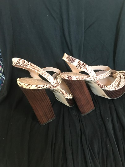 Vince Camuto Leather cream and brown snake print Platforms Image 1