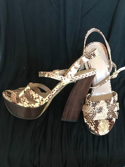 Vince Camuto Leather cream and brown snake print Platforms Image 2