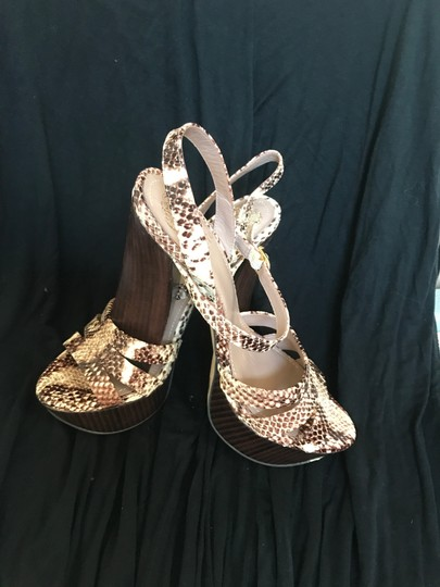 Vince Camuto Leather cream and brown snake print Platforms Image 3