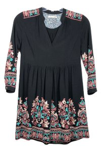 Anthropologie short dress Black Multi-color Floreat Avery Xsp Embroidered Longsleeve on Tradesy
