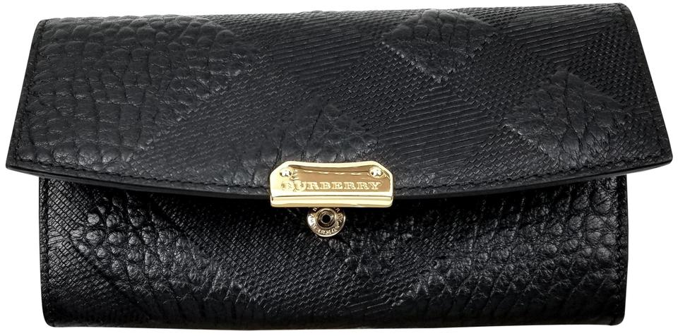7d2e9a1cc5ec Burberry Embossed Continental Wallet Black Leather Clutch - Tradesy