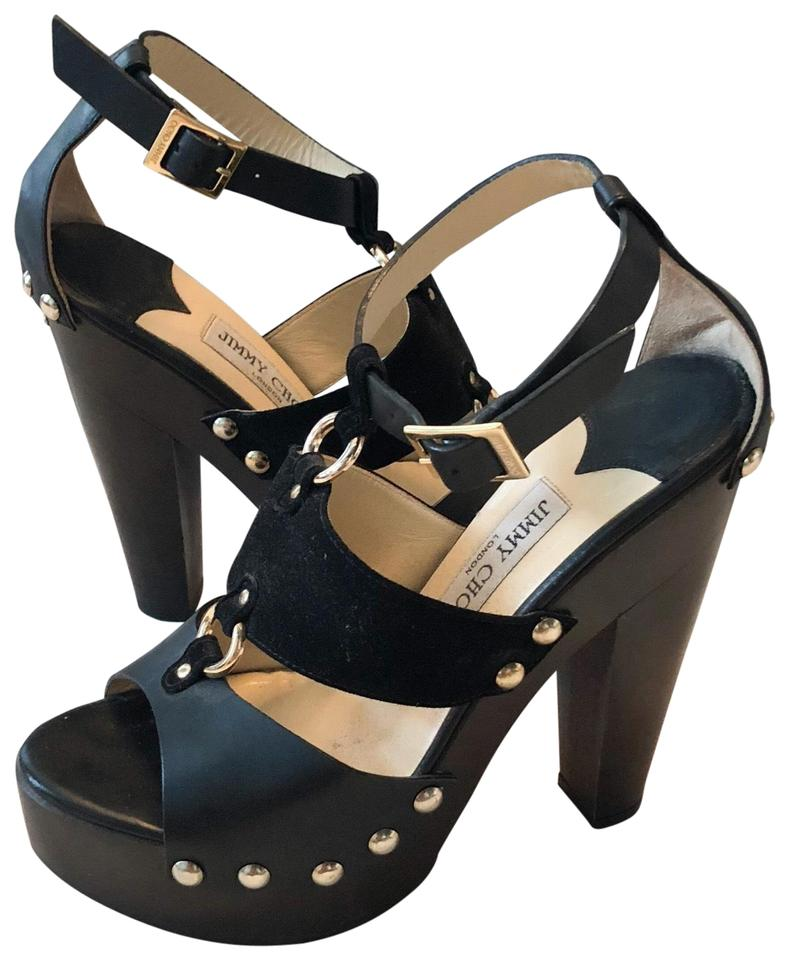 c026d011666 Jimmy Choo Black Brown Chunky Wooden Studded Sandals Platforms Size ...
