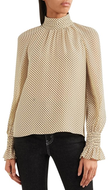 Preload https://img-static.tradesy.com/item/23618550/tory-burch-nude-colette-printed-silk-georgette-high-neck-blouse-size-2-xs-0-1-650-650.jpg