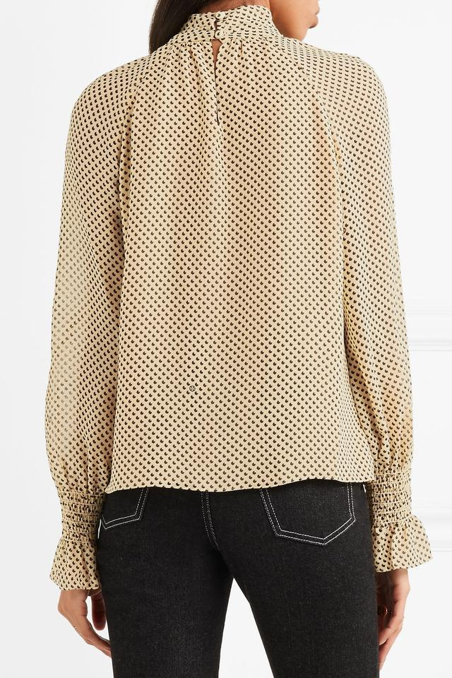 715cbba557581 Tory Burch Nude Colette Printed Silk Georgette High Neck Blouse Size ...