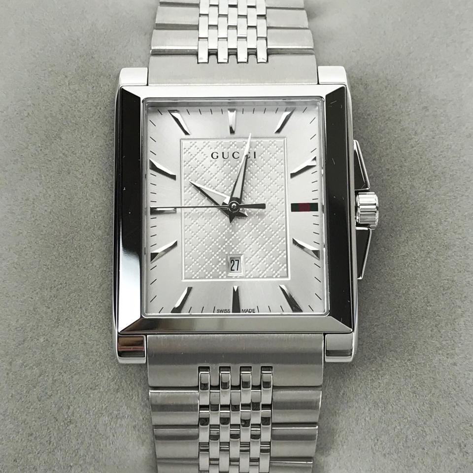 6cfe97afdfb Gucci Silver Men s G-timeless Rectangle Dial Stainless Steel Watch ...
