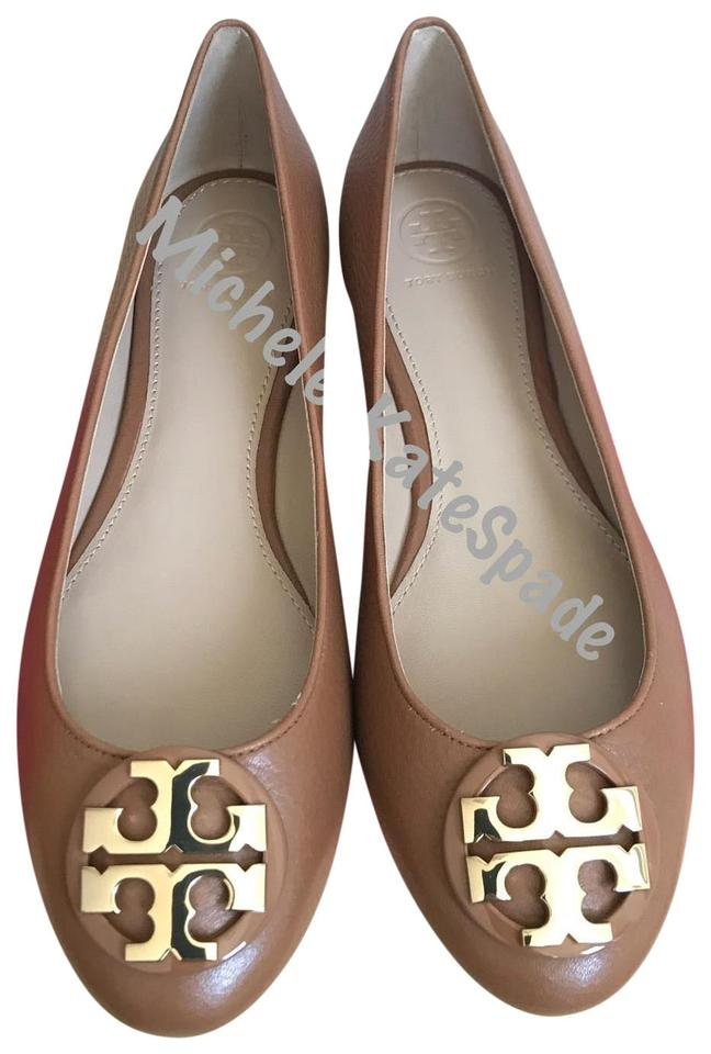 42fe40b5f01 Tory Burch Brown 9.5m Claire Ballet Tumbled Leather Flats Size US ...