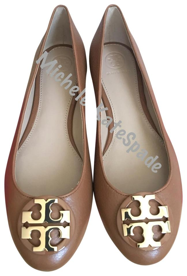 eb2287585 Tory Burch Brown Claire Ballet Tumbled Leather Flats Size US 10.5 ...