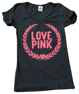 PINK Sequin T Shirt Gray and Pink