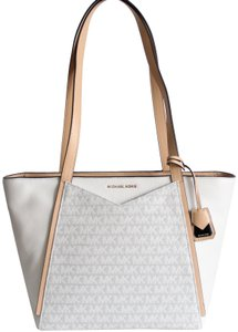 Michael Kors Leather Signature Mk Tote in White