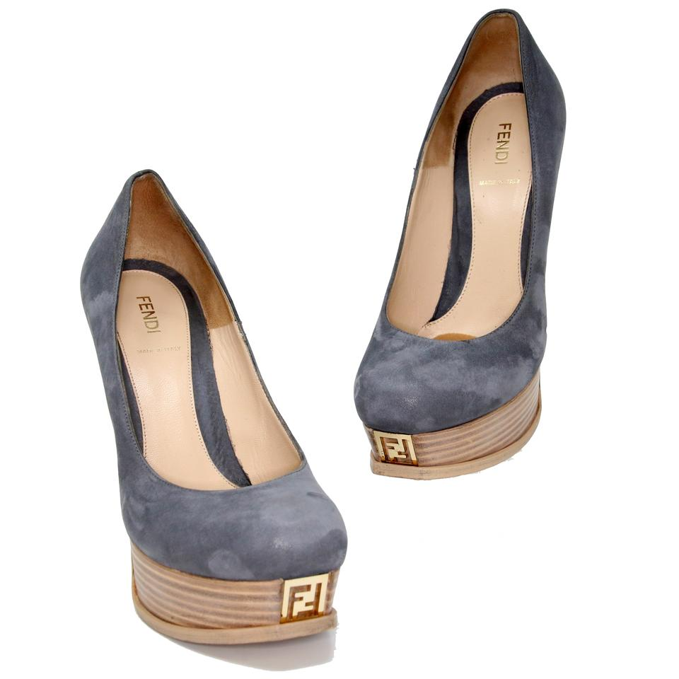474b8d82438 Fendi Blue Grey Suede Leather  fendista Zucca  Wood Pumps Platforms ...