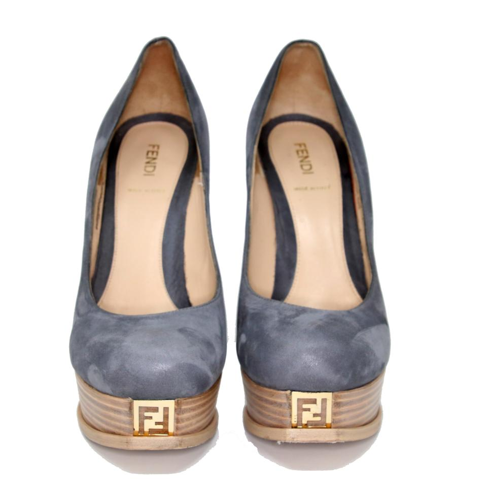 a8b30713095 Fendi Blue Grey Suede Leather  fendista Zucca  Wood Pumps Platforms Size US  10 Regular (M