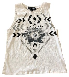 Almost Famous Clothing Top White with Black and Gray