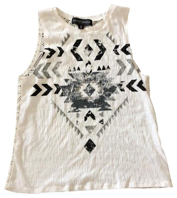 Item - White with Black and Gray Screen Printed Sleeveless Tank Top/Cami Size 8 (M)