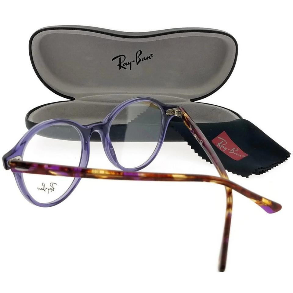5d5438e48d7 Ray-Ban Rx7118-8020 Round Unisex Violet Frame Clear Lens 50mm ...
