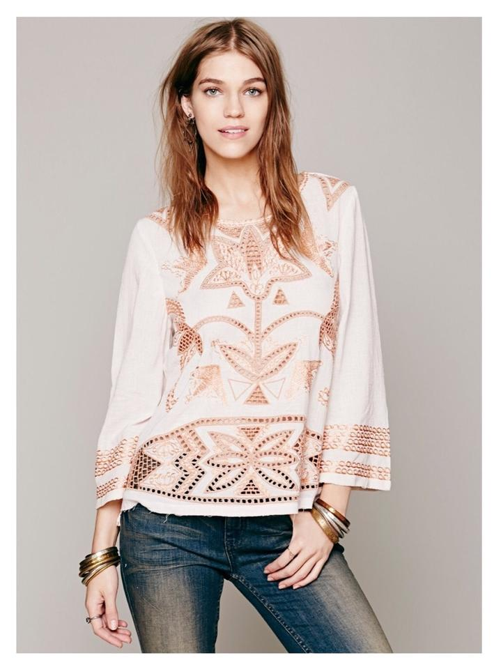 376b16df64f Free People Beige Ivory Peach Beyond The Sketch Blouse Size 12 (L ...