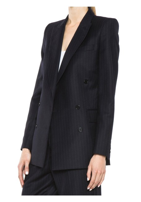 BLK DNM Double Breasted Wool Charcoal grey pinstripe Blazer Image 1
