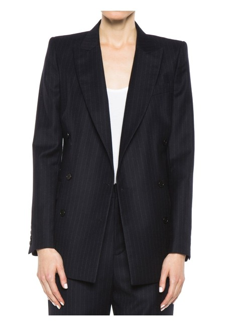 BLK DNM Double Breasted Wool Charcoal grey pinstripe Blazer Image 3