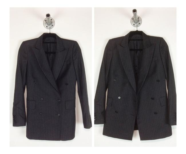 BLK DNM Double Breasted Wool Charcoal grey pinstripe Blazer Image 4