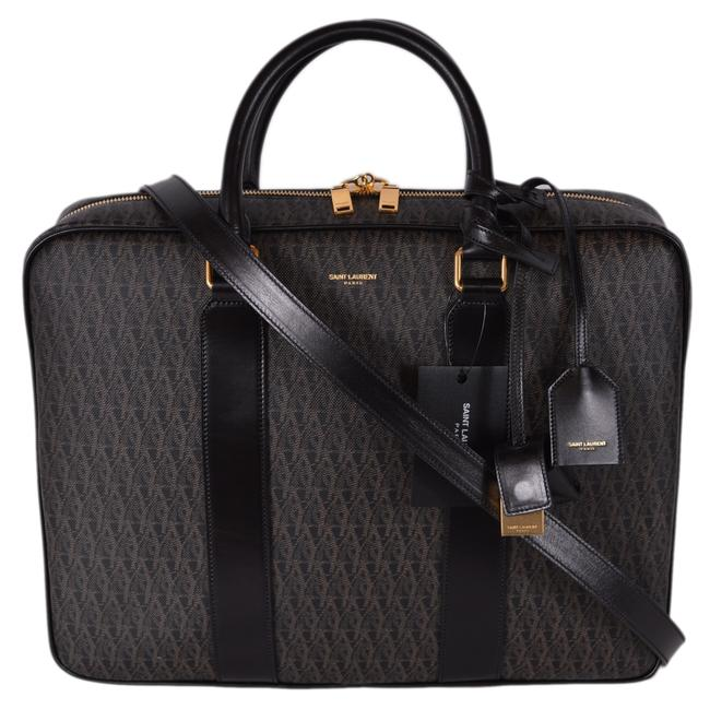 Item - New Ysl Men's Printed Leather Toile Briefcase Brown Coated Canvas Messenger Bag