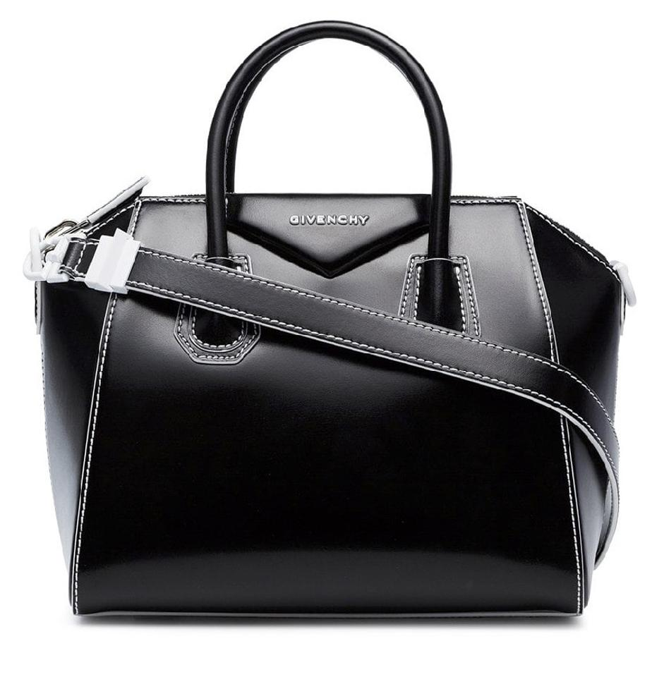 e9c64db9a0 Givenchy Antigona Small Polished Tote Black White Leather Shoulder ...