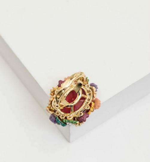 Les Néréides NEW Multi-Flowers and Red Cabochon Ring