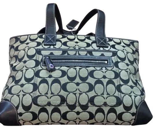 Preload https://img-static.tradesy.com/item/23619436/coach-monogram-blue-fabric-and-leather-tote-0-1-540-540.jpg