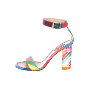 Valentino Multistrap Sandals From the Resort 2015 Collection. Kelly green and multicolor leather Valentino 1973 multistrap sandals with print throughout, tonal stitching, multicolor lucite block heels and buckle closures at ankles. multi Sandals