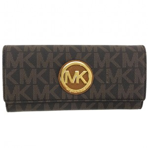 Michael Kors MICHAEL KORS Fulton Coated Canvas Flap Continental Wallet