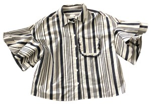 A New Day Button Down Shirt Ivory with Gray Stripes