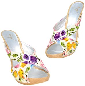 Giuseppe Zanotti Jlo Rhinestones Diamonds Retro Pin Up Multicolor Mules