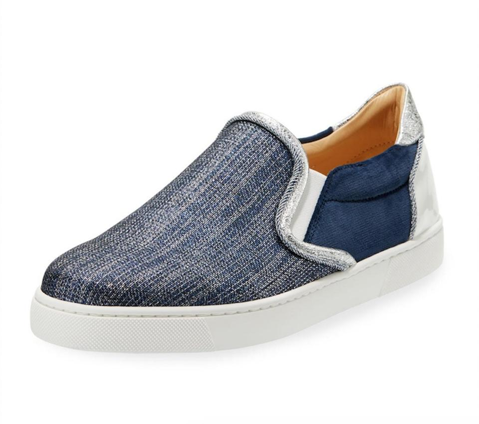 online store 5ba48 47e02 Christian Louboutin Blue Masteralta Denim White Silver Patent Low Top Slip  On Sneaker Flats Size EU 37 (Approx. US 7) Regular (M, B)