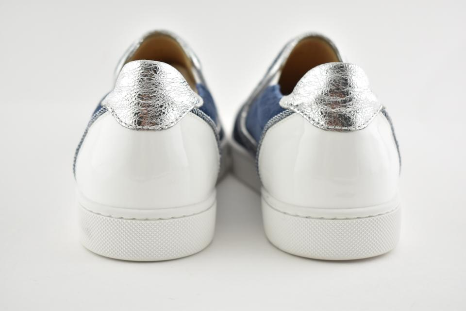 Masteralta Slip Flats Silver Louboutin Blue Sneaker On Low Top Christian Patent White Denim qSwHH